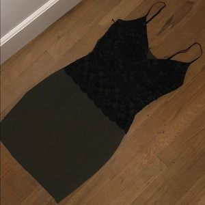 Black Lace and Green Bodycon Dress